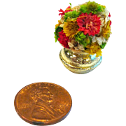 Miniature Brass Vase With Dried Flowers - Dollhouse Miniatures