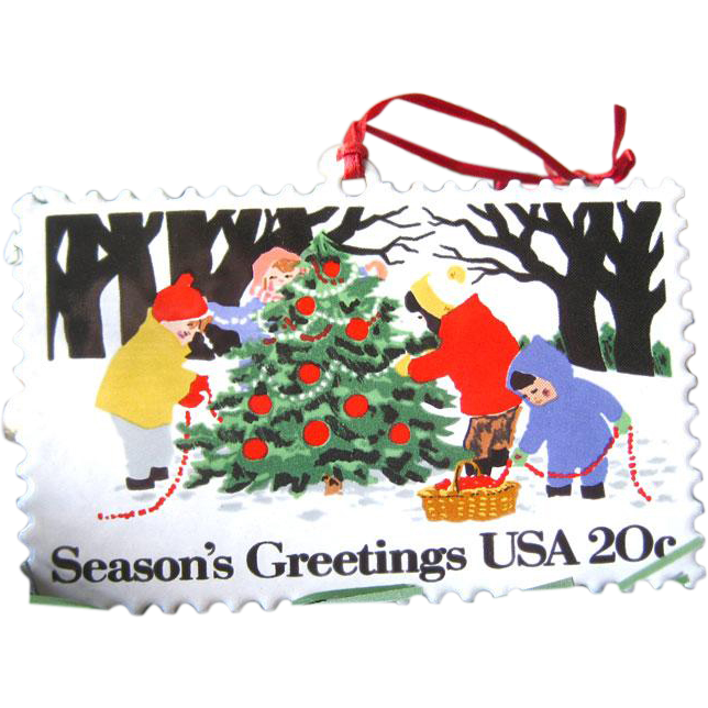 Hallmark Christmas Stamp Enameled Ornament / Christmas Tree / Vintage Hallmark