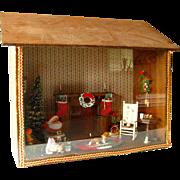 Christmas Shadow Box Diorama With Santa Cottage Scene / Santa Claus / Holiday Decor