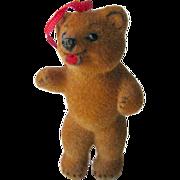 Kunstlerschutz West German Wagner Flocked Bear Ornament - Vintage Christmas - Holiday Decor - Bear Toy