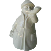 White Goebel Town Crier Made in West Germany - Goebel Ceramic Boy - Collectible Figurine - Hummel Figurine