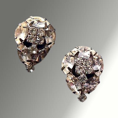 White Rhinestone Prong Set Earrings