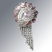 Pink & White Dangle Rhinestone Pin