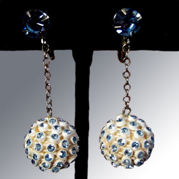 Blue Rhinestone Ball Dangle Earrings