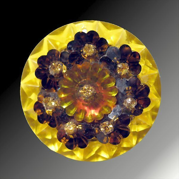 Brilliant Yellow and Orange Glass & Plastic Pin