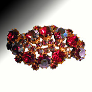 Karu Arke Brilliant Red Rhinestone Pin