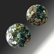 Confetti Sea Shell Dome Clip Earrings
