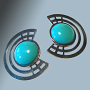 1980s Chunky Earrings Turquoise Glass Bead Silver Tone Settings