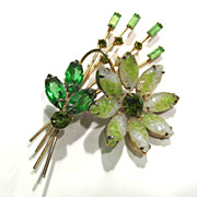 Vintage Floral Spray Brooch Pin with Molded Stones and Green Rhinestones