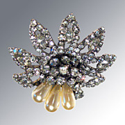 Weiss Rhinestone and Faux Pearl Three Dimensional Pin / 1950s Designer Fashion Jewelry