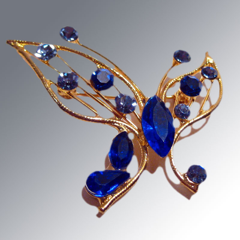 MOD Butterfly Pin with Blue Rhinestones Vintage Fashion Jewelry
