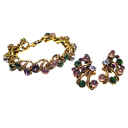 Florenza Multi Colored Rhinestone Bracelet and Earrings / Vintage Signed Jewelry / Florenza