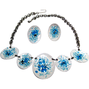 Blue Enamel Demi Parure Necklace and Earrings / MOD Fashion Jewelry / 1960s Jewelry