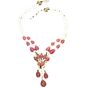Pink and White Glass Bead Necklace / Vintage Fashion Jewelry