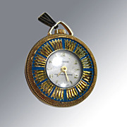 Vintage Lucerne Wind Up Watch Pendant / Blue Enamel With Gold Sunbursts / Swiss Made / Working Condition
