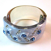 Vintage Blue Rhinestone Clamper Bracelet