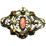 Vintage Coral and Filigree Victorian Style Pin