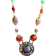 Lapis Coral and Turquoise Chunky Asian Necklace