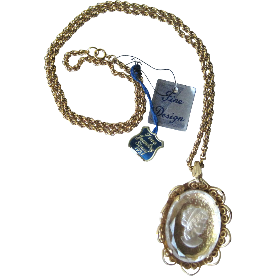 Pcraft Fine Design Intaglio Cameo Pendant Necklace with Original Tag