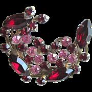 Vintage Red and Pink Rhinestone Spray Brooch Pin