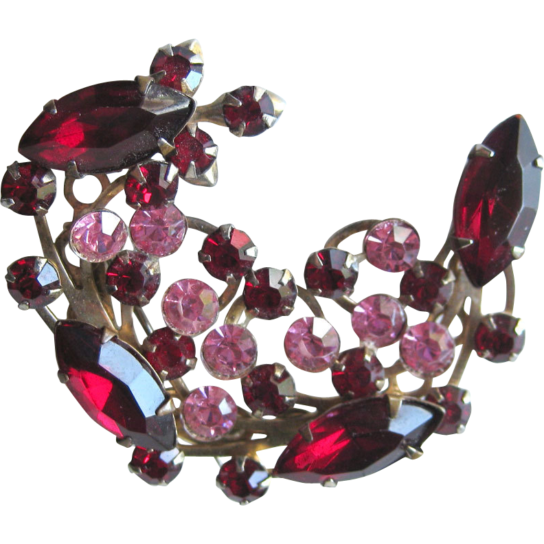 Vintage Red and Pink Rhinestone Spray Brooch Pin