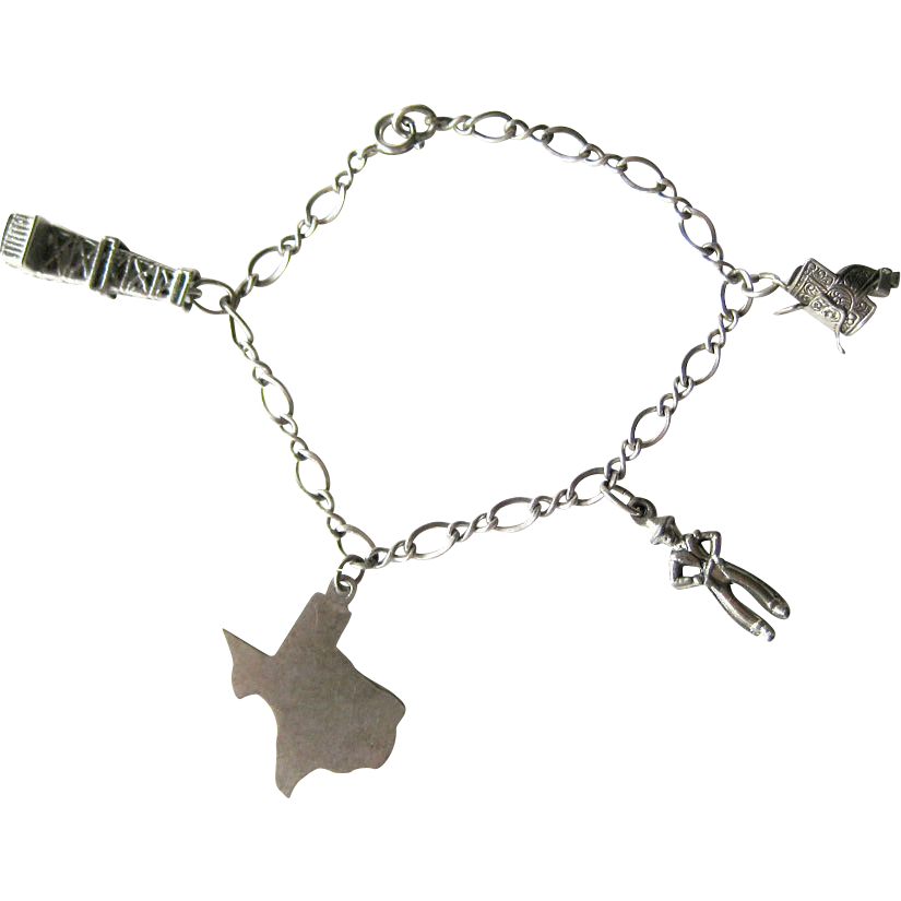 Texas Theme Sterling Silver Charm Vintage Bracelet
