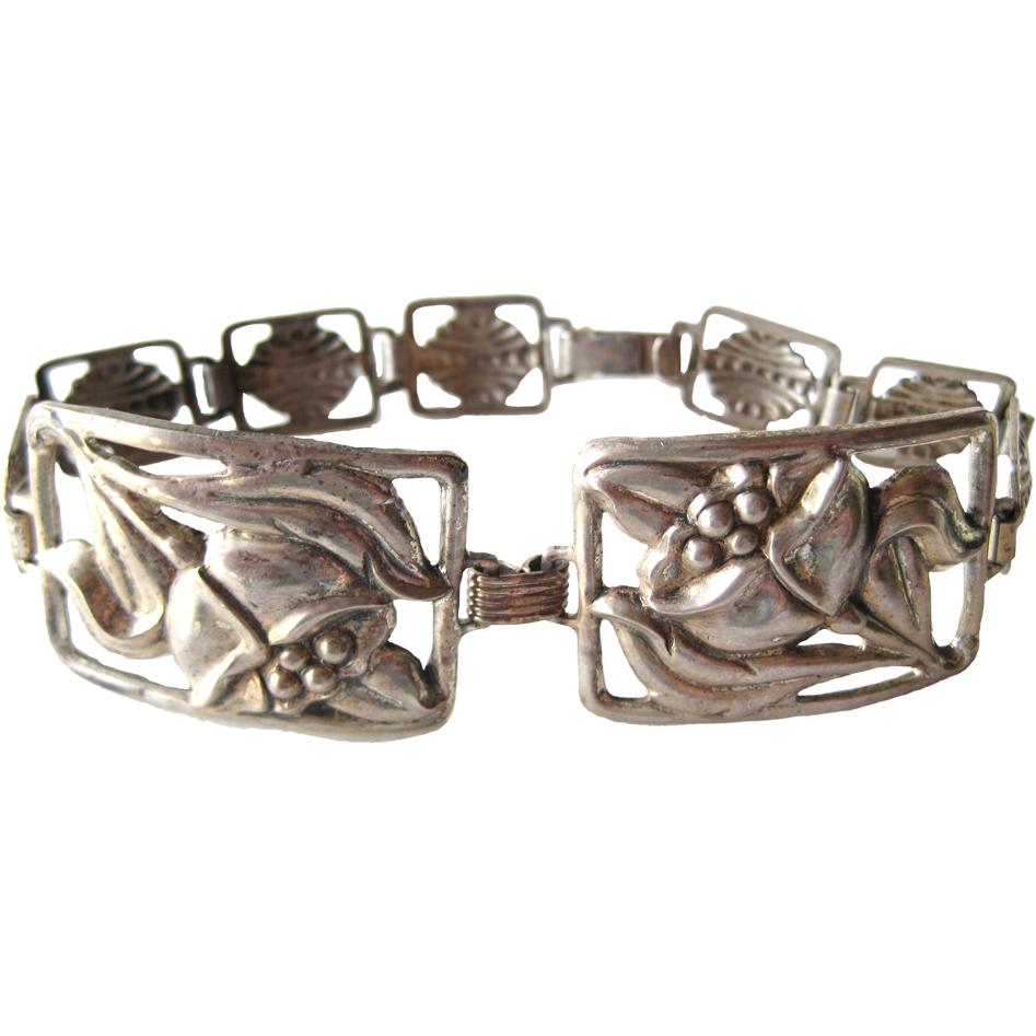 Art Nouveau Sterling Silver Floral Bracelet Vintage Jewelry