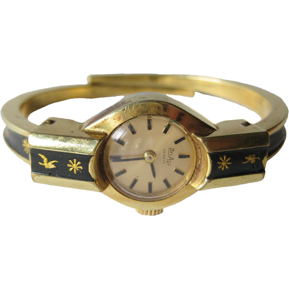 Bel Art Geneve Mechanical Enameled Bracelet Watch in Working Condition