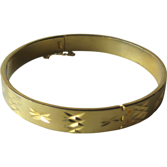 Vintage Gold Engraved Hinged Bangle Bracelet 1960s / Fashion Jewelry / Vintage Bracelet