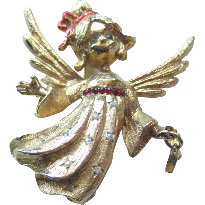 MYLU Angel Rhinestone Pin With Dangling Star / Signed Jewelry / Vintage Jewelry / Holiday Jewelry