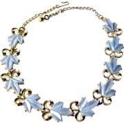 Blue Leaf Thermoset Necklace / Vintage Jewelry / Costume Jewelry