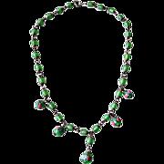 Venetian Wedding Cake Art Green Glass Beaded Necklace