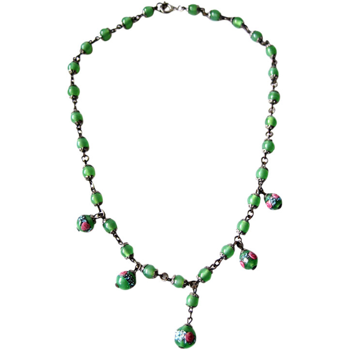 Venetian Wedding Cake Art Green Glass Beaded Necklace
