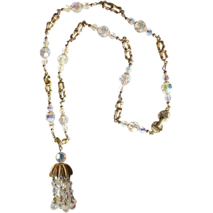 Vendome Crystal Cluster Necklace / Designer Jewelry / Costume Jewelry / Crystal GLAM Necklace