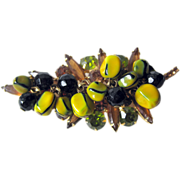 Juliana DeLizza and Elster Stylized Leaf Pin / Nugget Beads / Yellow Pin / D&E