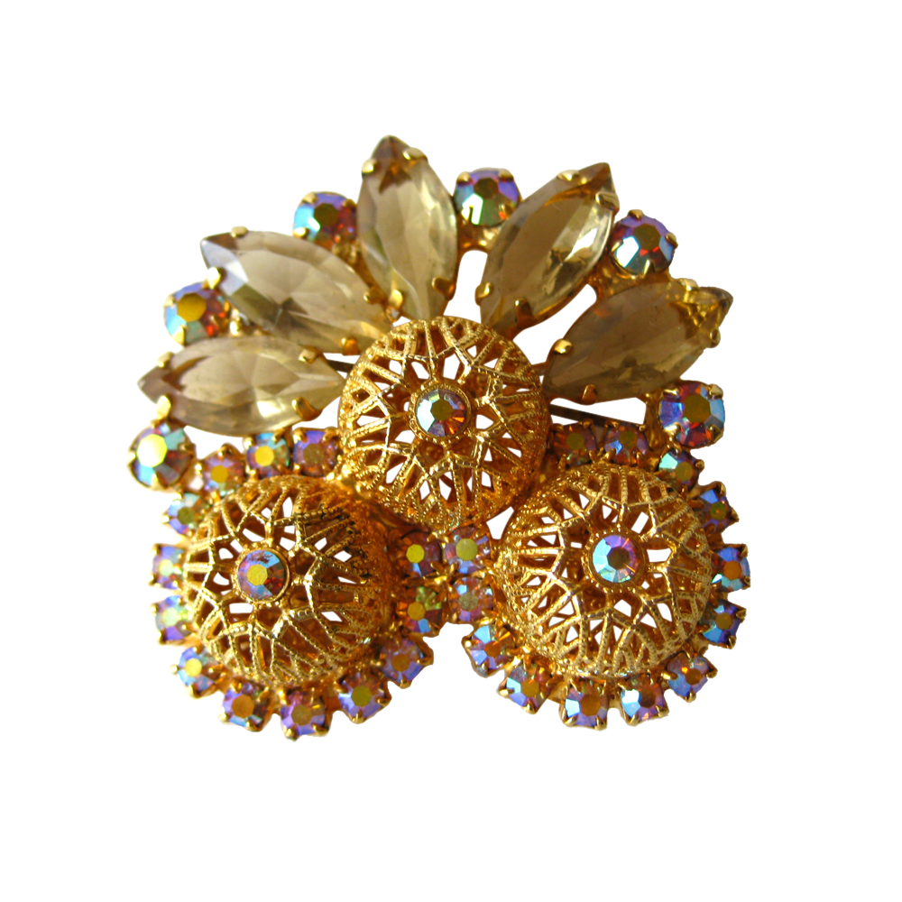 Juliana D and E Filigree Bead Cintrine Pin / Vintage Brooch / Costume Jewelry / DeLizza and Elster / Designer Jewelry