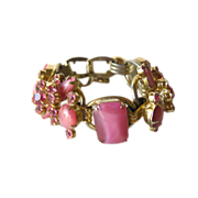 Pink Juliana D and E Rhinestone Bracelet with Raised Floral Rhinestone Accents / Vintage Bracelet / DeLizza and Elster / Designer Jewelry
