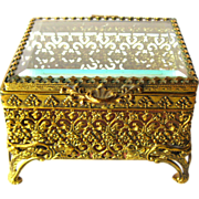 Ormolu Beveled Glass Jewelry Casket Box / Trinket Box / Dressing Table Box / Vanity Glass Box