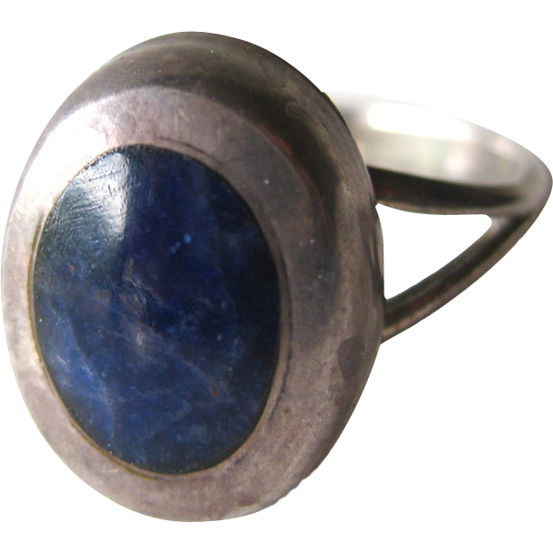 Lapis Mexican Sterling Ring Size 6 1/2 / Vintage Jewelry / Southwestern Jewelry