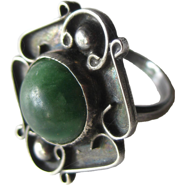 Vintage Green Turquoise Mexican Sterling Ring Size 6 1/2 / Southwest Jewelry / Mexico Sterling