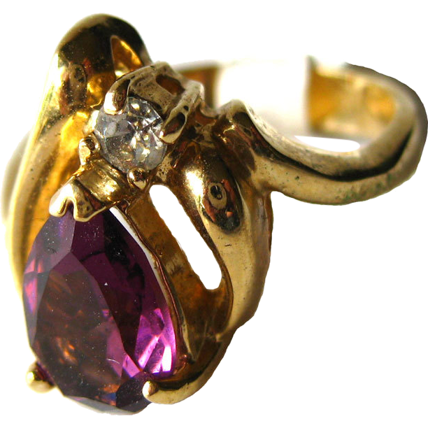 Amethyst and Cubic Zirconia Vintage Cocktail Ring Size 6