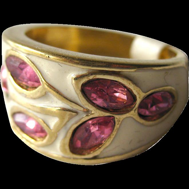 Pink Rhinestone and Ivory Enamel Vintage Cocktail Ring Size 8 / Rhinestone Ring