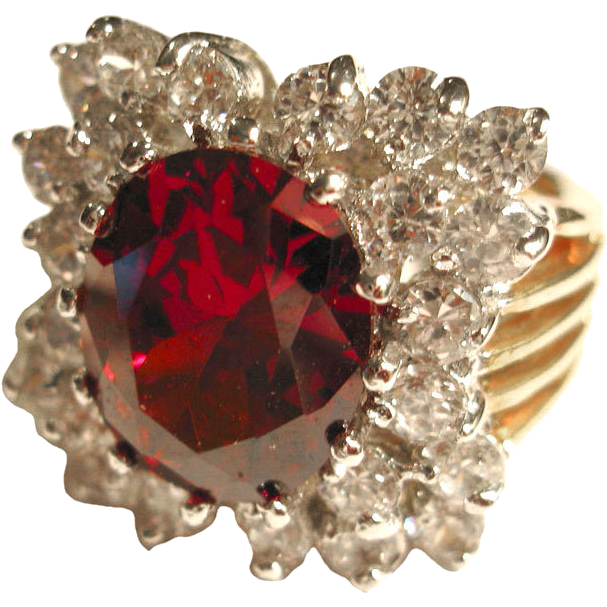 Brilliant Ruby Red and White Rhinestone Vintage Cocktail Ring Size 6 / Rhinestone Ring / Chunky Ring