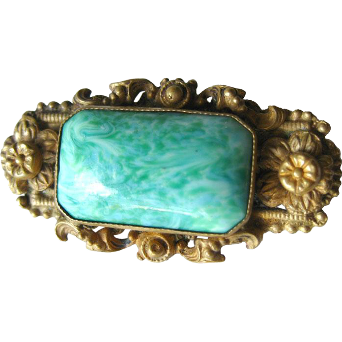 Czech Pin Victorian Style With Large Faux Jade Stone