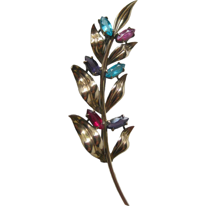 Sterling & 14K Symmetalic Flower Spray Pin