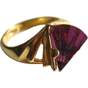 Cocktail Ring Amethyst Stone Size 8 / 18 KT Electroplate