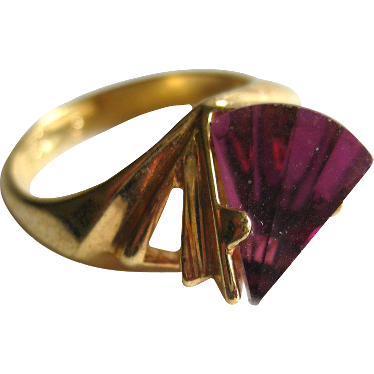 cocktail ring amethyst stone size 8 18 kt electroplate