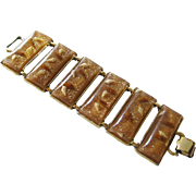 Goldflake Vintage Lucite and Shell Extra Link Wide Bracelet / Vintage Jewelry / 1950s Bracelet / Pin Up Girl Bracelet