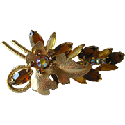 Leaf Pin by Juliana D and E / Vintage Brooch / Costume Jewelry / DeLizza and Elster / Designer Jewelry