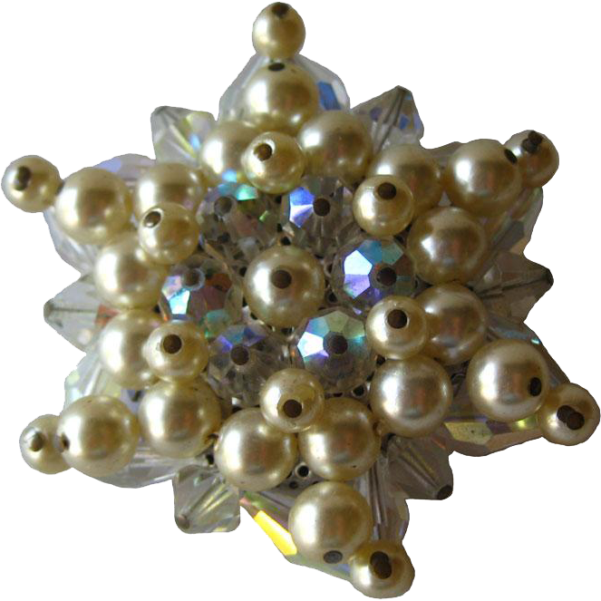 Crystal and Pearl Star Vintage Pin / Vintage Jewelry / Vintage Brooch / Wedding Bouquet